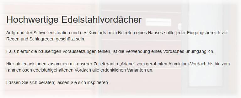 Edelstahlvordächer in 76676 Graben-Neudorf